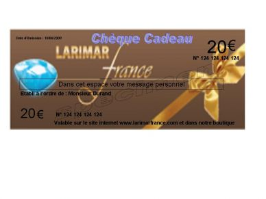 larimar france cheque cadeau 20. Black Bedroom Furniture Sets. Home Design Ideas